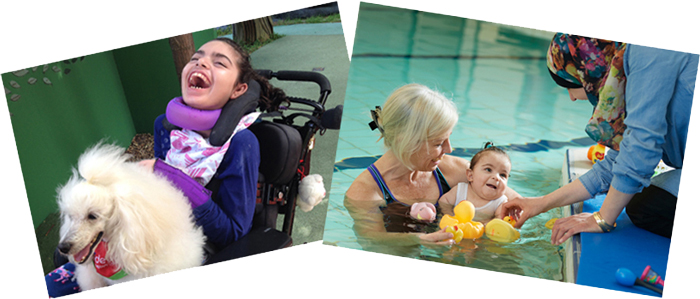 Collage - Vanessa and Physio with infant in pool